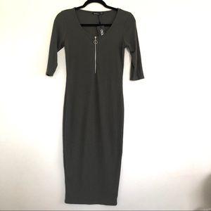 Boohoo Stretchy Short Sleeves Pencil Olive Dress.